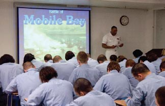 Recruits receive formal classroom training and computer based training in topics such as antiterrorism force protection, Navy history, equal opportunity, and U.S. Navy ships and aircraft.