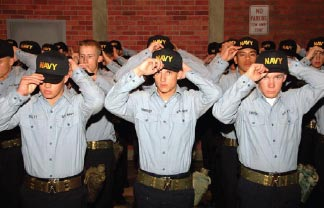 After successful completion of Battle Stations, recruits receive their Navy ball caps, which replace their recruit ball caps.